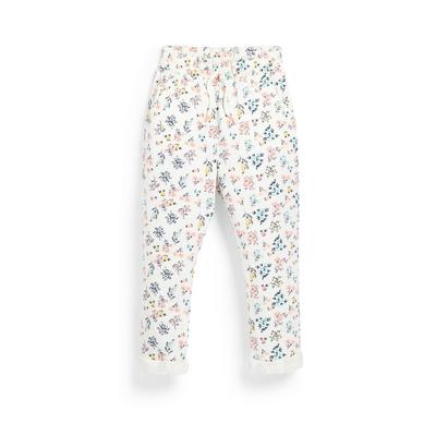 Younger Girl White Floral Print Joggers
