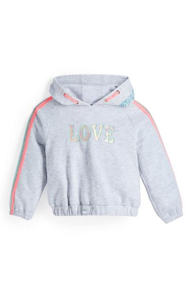 Younger Girl Grey Love Side Stripe Hoodie