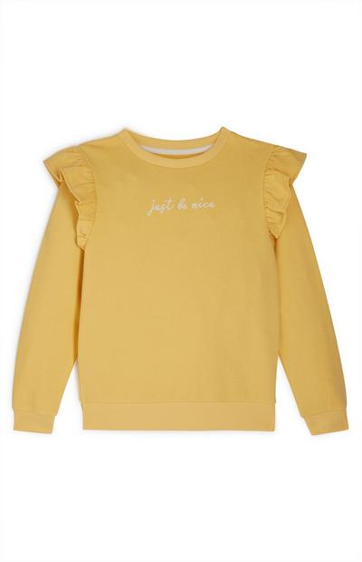 Sweat-shirt ras du cou jaune à volants fille