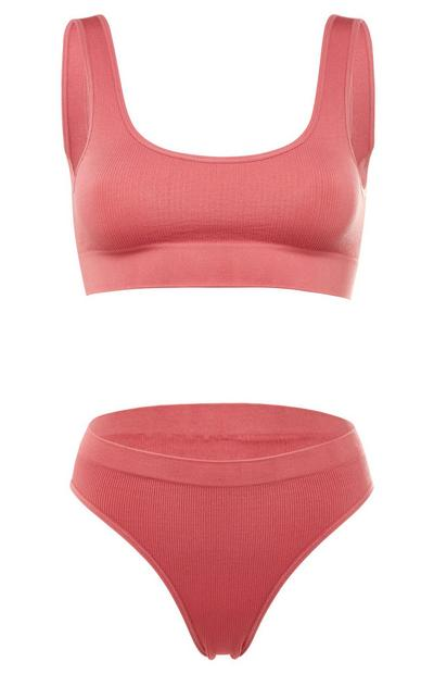 Coral Pink Seamfree Crop Top and Briefs Set