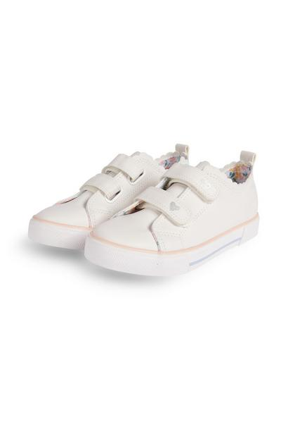Younger Girl White Scallop Lowtop Trainers