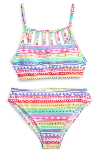 Meerkleurige bikini met Azteekse print voor meisjes