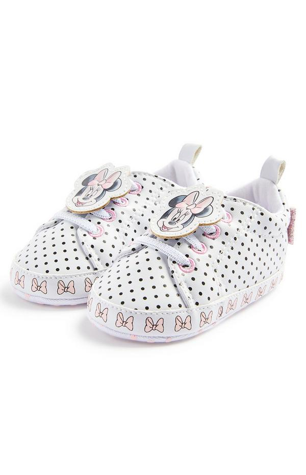 Baby Girl Disney Minnie Mouse White High Top Trainers