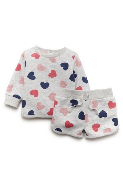 Siv kratek dekliški komplet za prosti čas z motivom src za dojenčke
