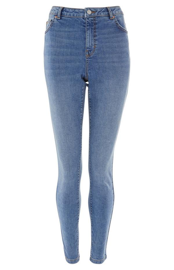 Blaue Skinny Jeans mit hohem Bund
