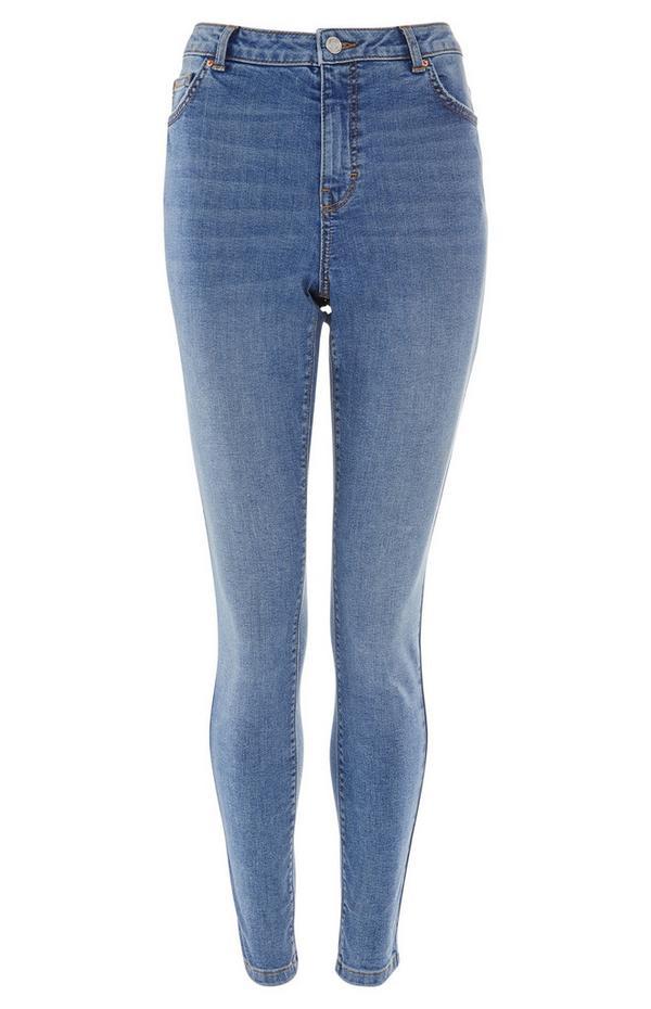 Skinny jeans met hoge taille en blauwe wassing