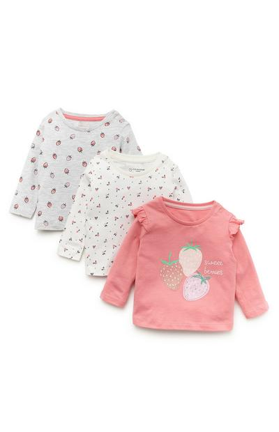 3-Pack Baby Girl Coral Tones Long Sleeve Tops