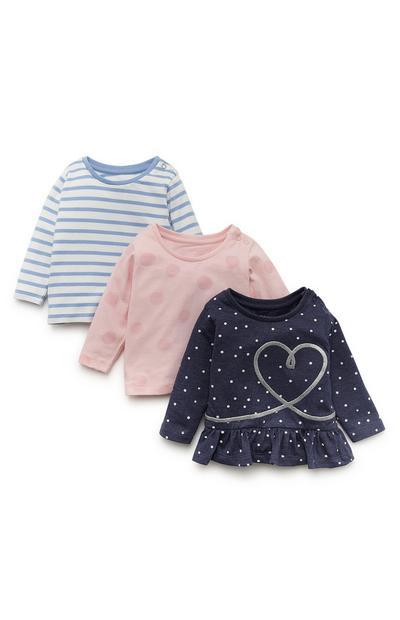 Pack 3 tops manga comprida estampado menina bebé