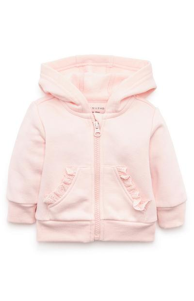 Sweat à capuche zippé rose à volants bébé fille