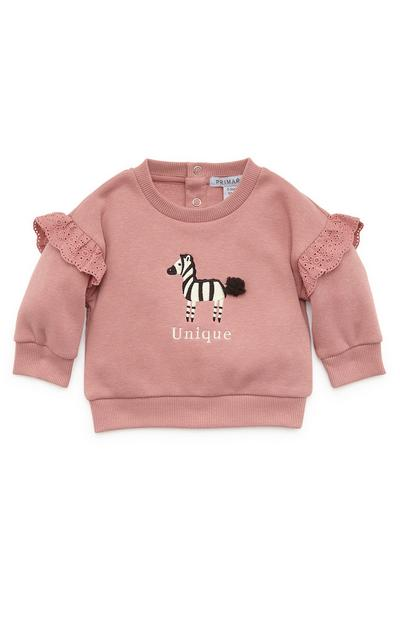 Baby Girl Zebra Embroidered Crew Neck Sweater