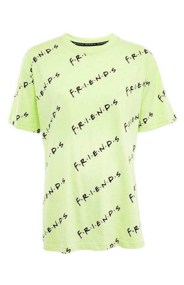 T-shirt oversize vert citron à imprimé Friends