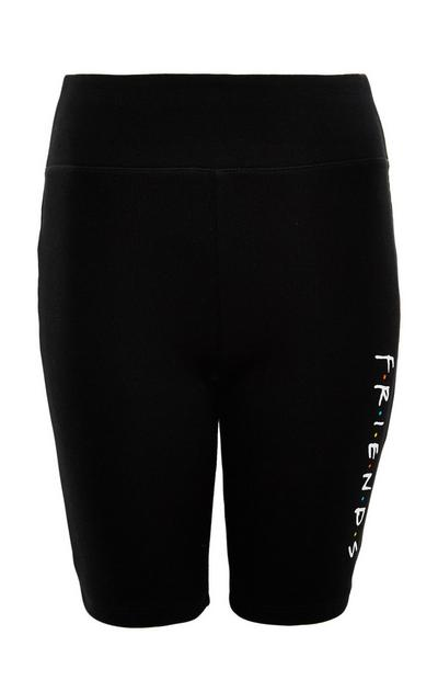 Black Friends Side Print Cycling Shorts