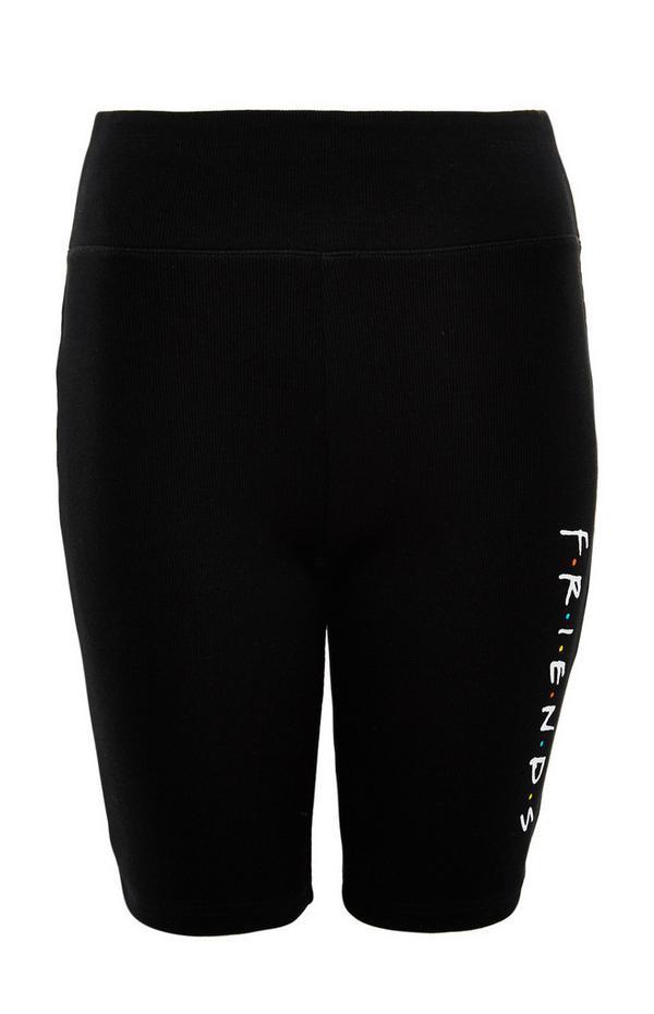 Črne kolesarske kratke hlače s potiskom Friends na strani