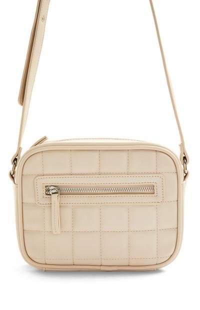 Cream Faux PU Leather Grid Stitch Camera Bag
