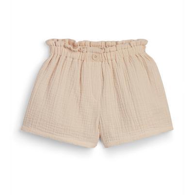 Bež bombažne nagubane kratke hlače za mlajša dekleta