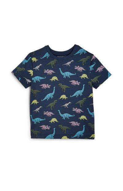 Younger Boy Navy Dinosaurs T-Shirt