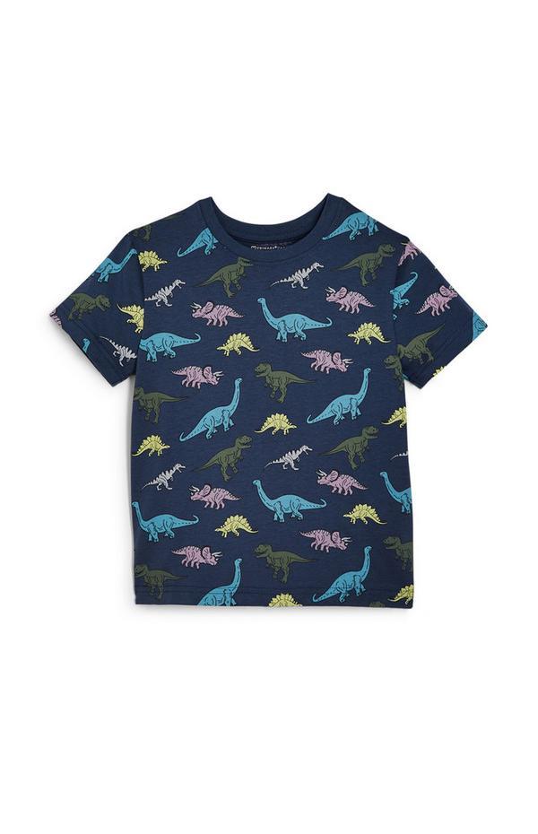 Mornarsko modra majica s kratkimi rokavi z dinozavri za mlajše fante