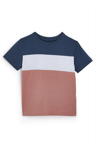 Younger Boy Navy And Dusk Colour Block Stripe T-Shirt
