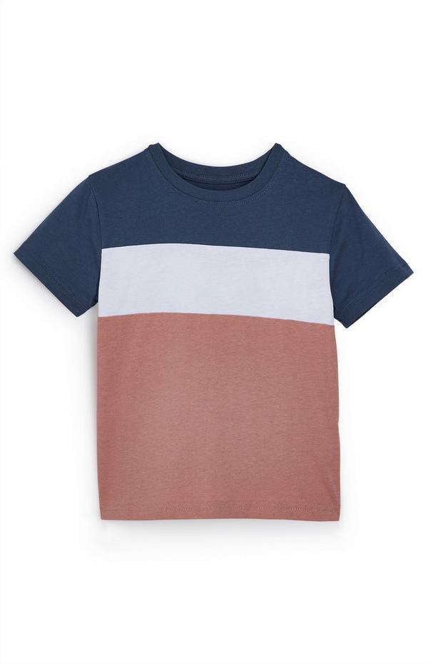 T-shirt met donkerblauwe, witte en bruine kleurvlakken voor jongens