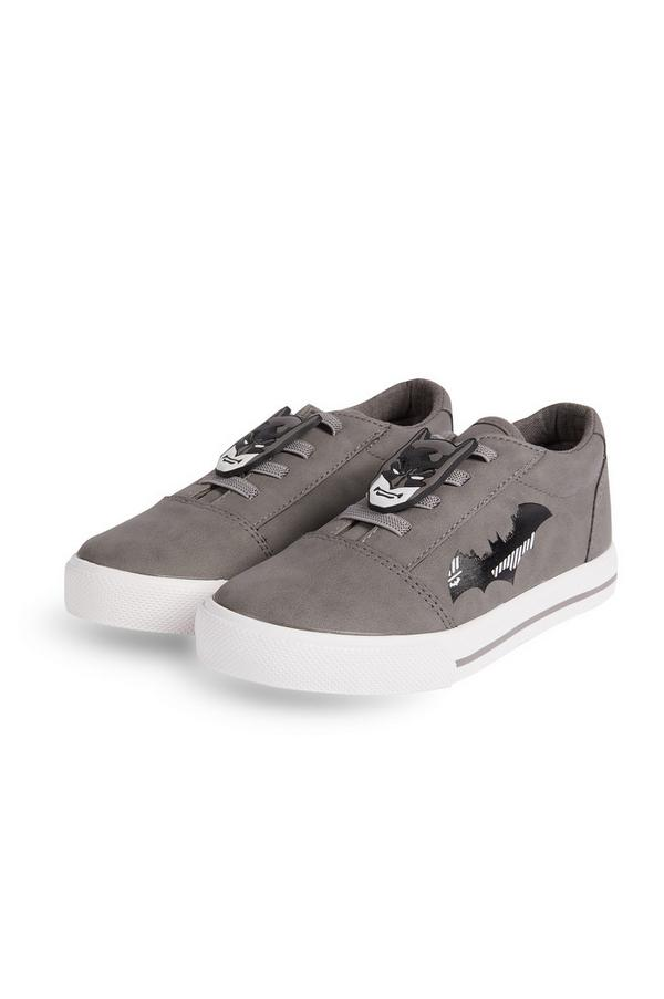 Younger Boy Gray Batman Sneakers