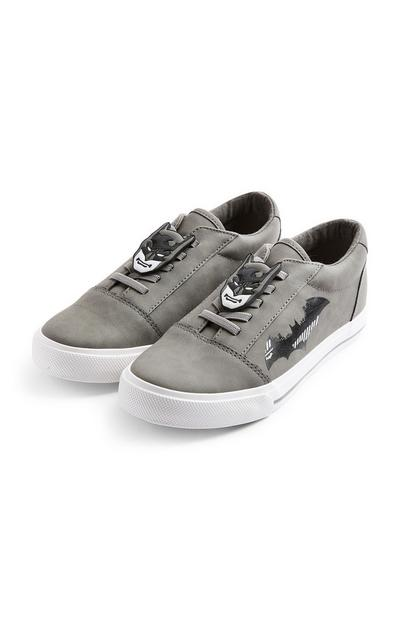 Younger Boy Grey Batman Lowtop Trainers