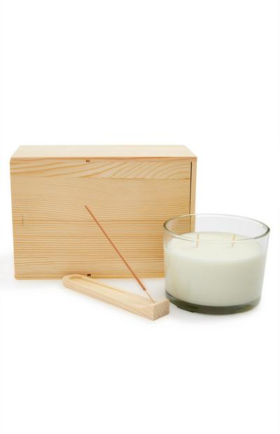 Primark Retreat Candle and Incense Wooden Gift Set