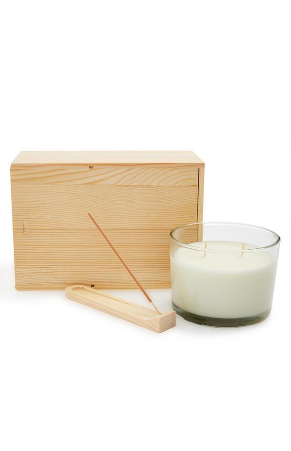 Conjunto de regalo de madera con velas e incienso de Primark Retreat