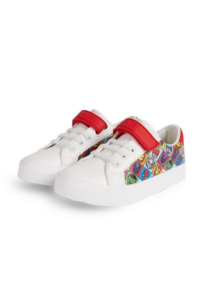 Younger Boy White Avengers Lowtop Trainers