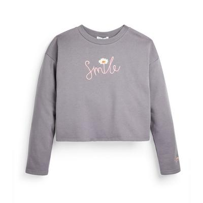 Older Girl Grey Daisy Slogan Cropped Crew Neck Sweater