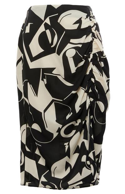 Monochrome Print Midi Skirt