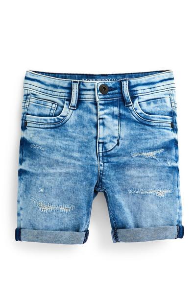 Skinny denim short met scheuren, gaten en blauwe wassing voor jongens
