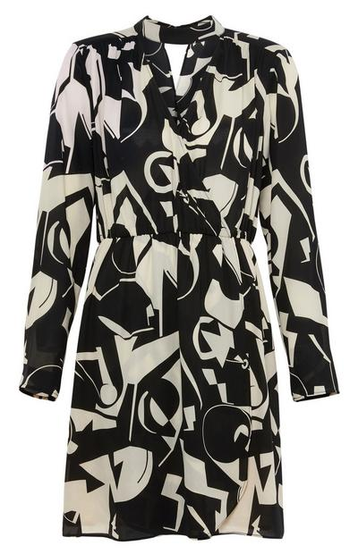 Monochrome Print Midi Dress