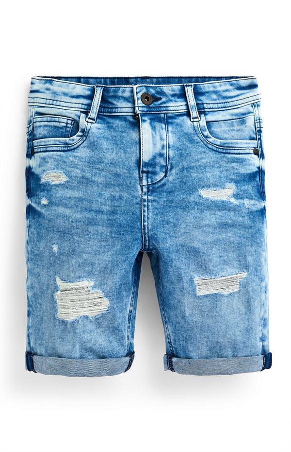 Shorts blu strappati in denim da ragazzo