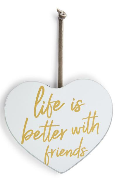 Petite plaque miroir en forme de cœur Life is Better With Friends
