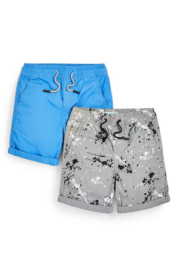 Younger Boy Canvas Blue And Grey Shorts 2 Pack