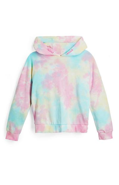Sweat à capuche pastel tie and dye ado