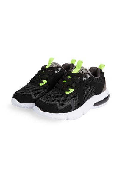Younger Boy Black Neon Trainers