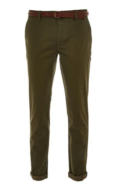 Pantalon chino kaki à ceinture