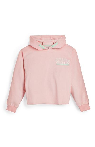 Sweat à capuche rose en éponge ado