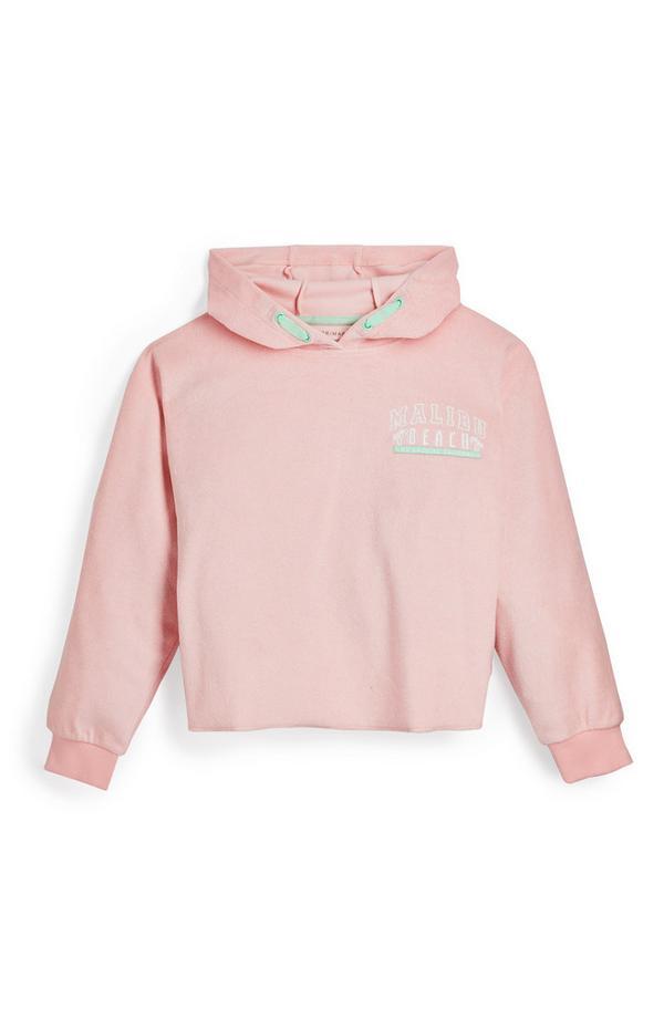 Rožnat pulover s kapuco iz frotirja za starejša dekleta
