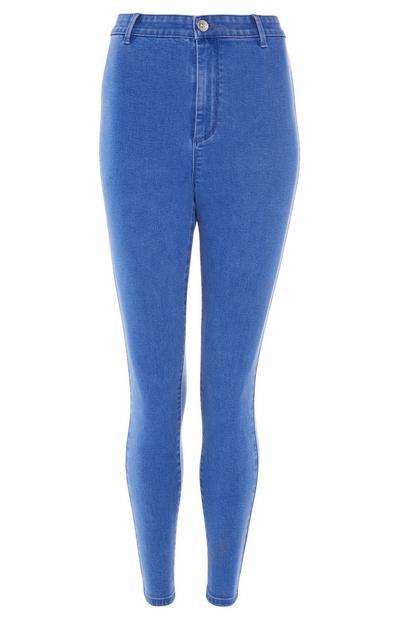 Felblauwe skinny jeans met hoge taille