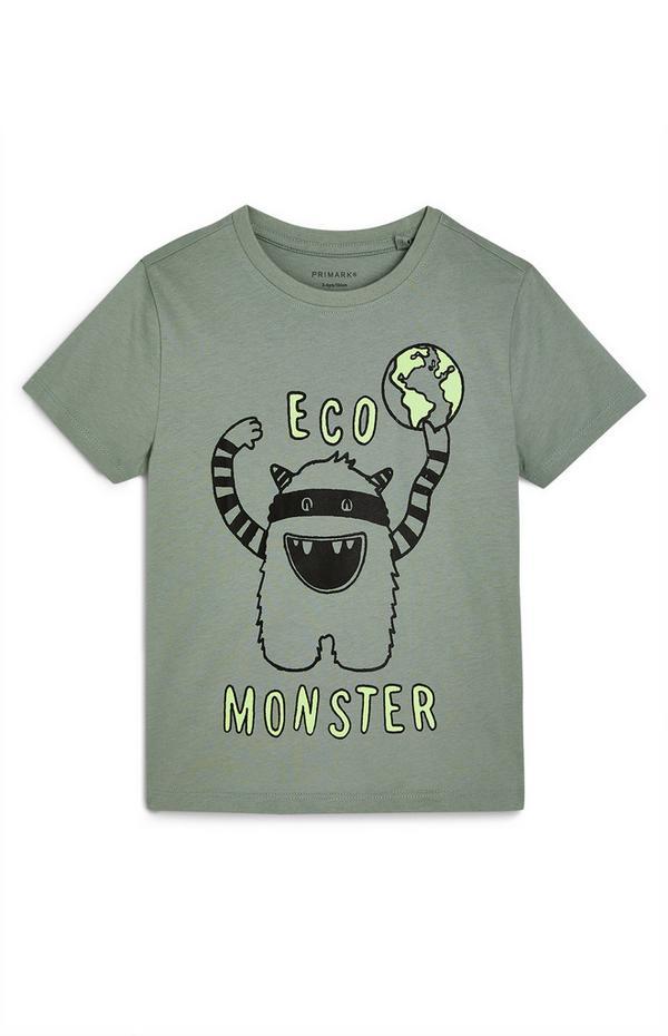 "Khakifarbenes ""Eco Monster"" T-Shirt (kleine Jungen)"