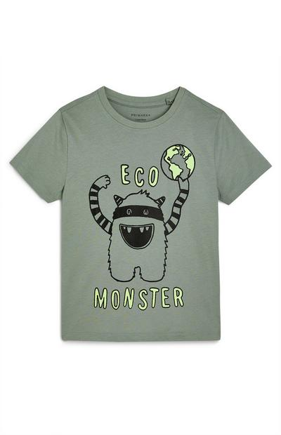 Kaki T-shirt Eco Monster voor jongens