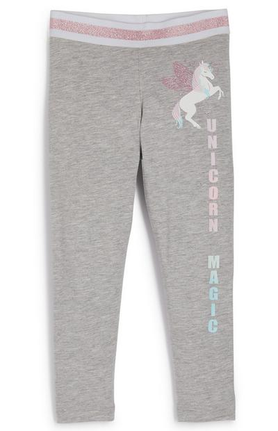 Younger Girl Grey Unicorn Leggings