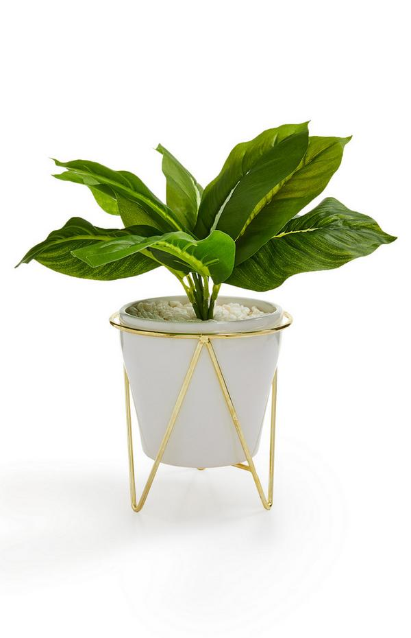 White And Gold-Tone Faux Potted Plant