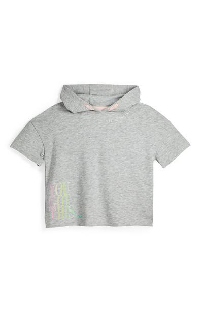 Older Girl Grey Short Sleeve Hoodie