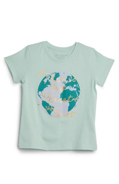 T-shirt vert à message There Is No Planet B fille