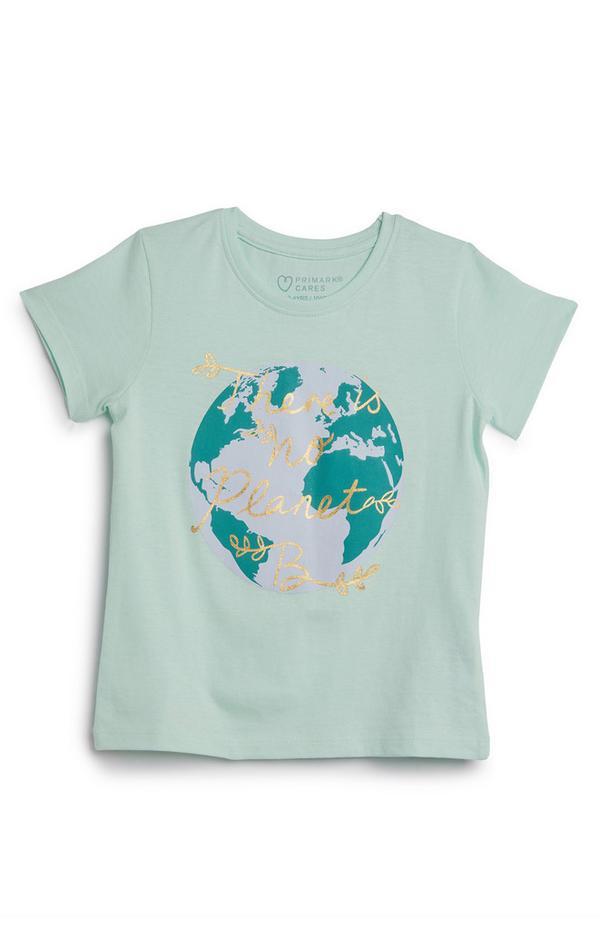"Camiseta verde con mensaje ""There Is No Planet B"" para niña pequeña"