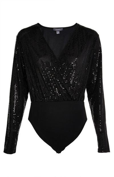 Black V Neck Sequin Bodysuit