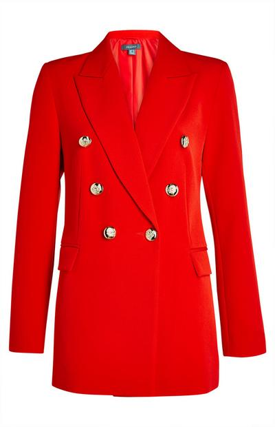 Red Double Breasted Power Blazer Jacket